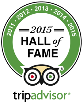 Tripadvisor Hall of Fame - Five time winner of Certificate of Excellence